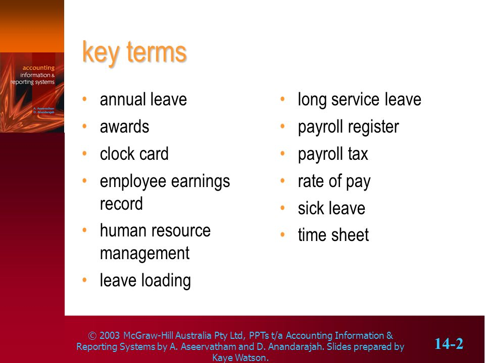 key terms annual leave awards clock card employee earnings record