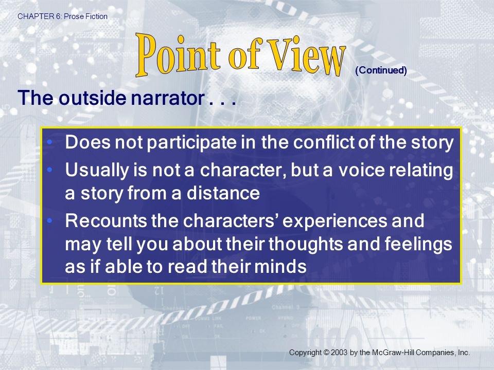 Point of View The outside narrator . . .