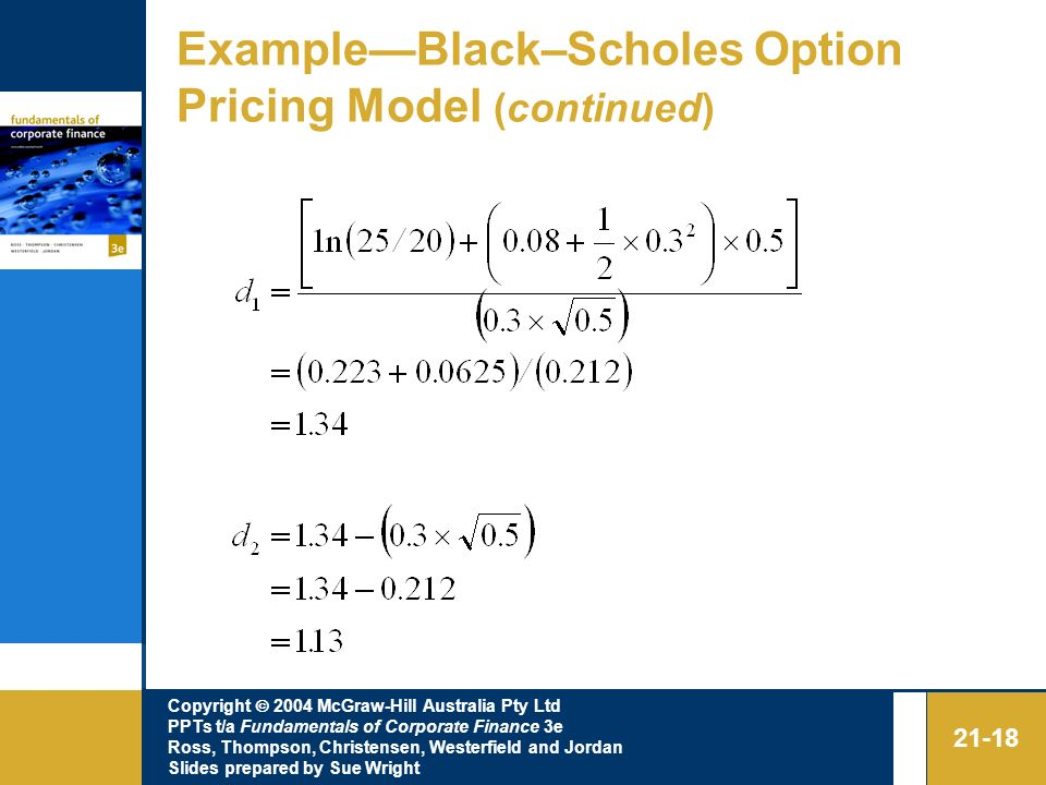 Example—Black–Scholes Option Pricing Model (continued)