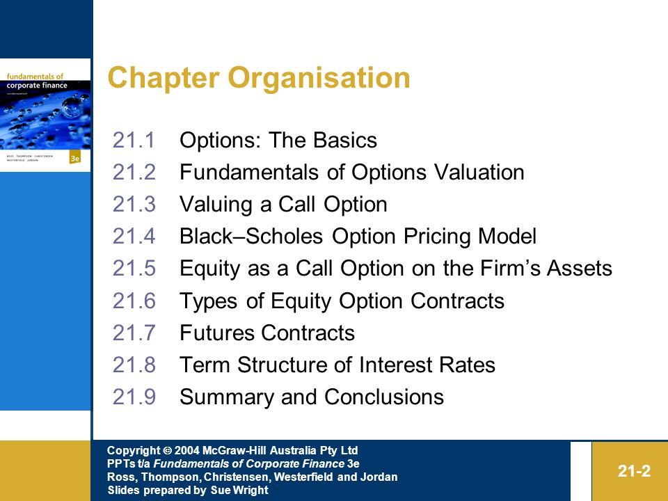 Chapter Organisation 21.1 Options: The Basics