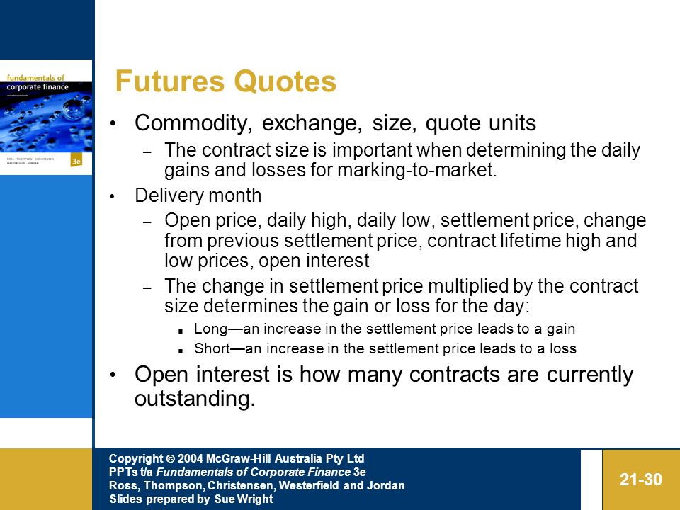 Futures Quotes Commodity, exchange, size, quote units
