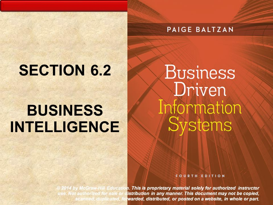 SECTION 6.2 BUSINESS INTELLIGENCE