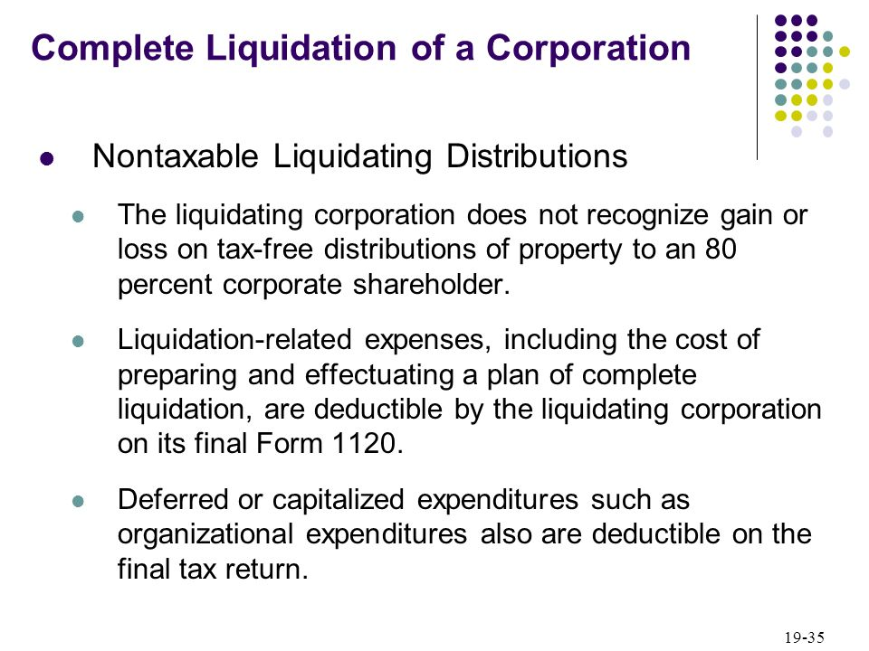 Liquidating distribution in excess of basis charter