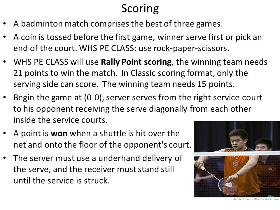 Scoring A badminton match comprises the best of three games.
