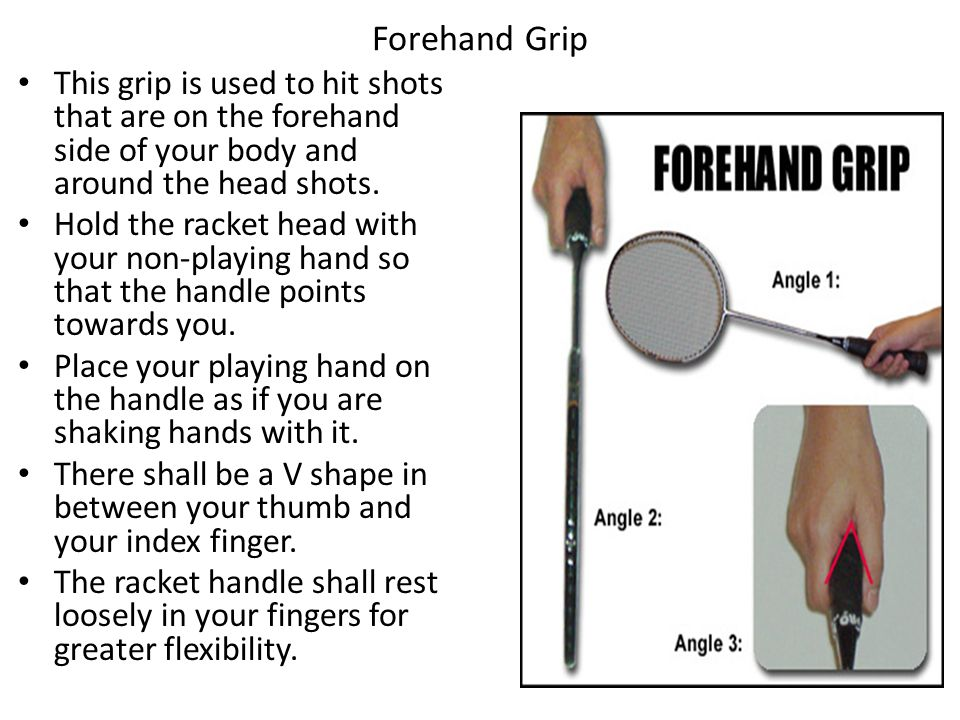 Forehand Grip This grip is used to hit shots that are on the forehand side of your body and around the head shots.