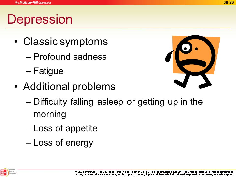 Depression Classic symptoms Additional problems Profound sadness
