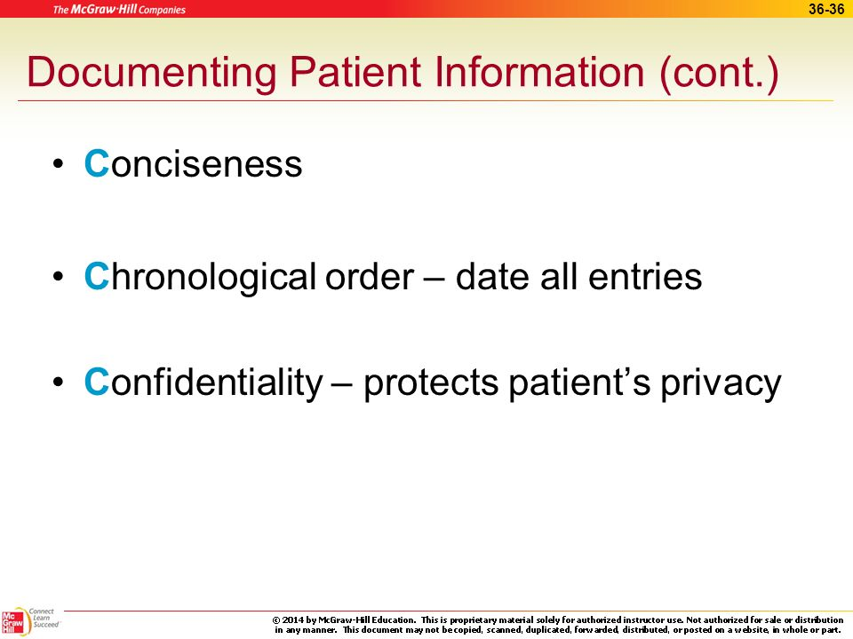 Documenting Patient Information (cont.)