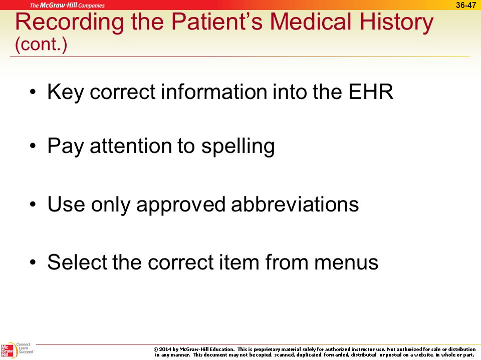 Recording the Patient's Medical History (cont.)