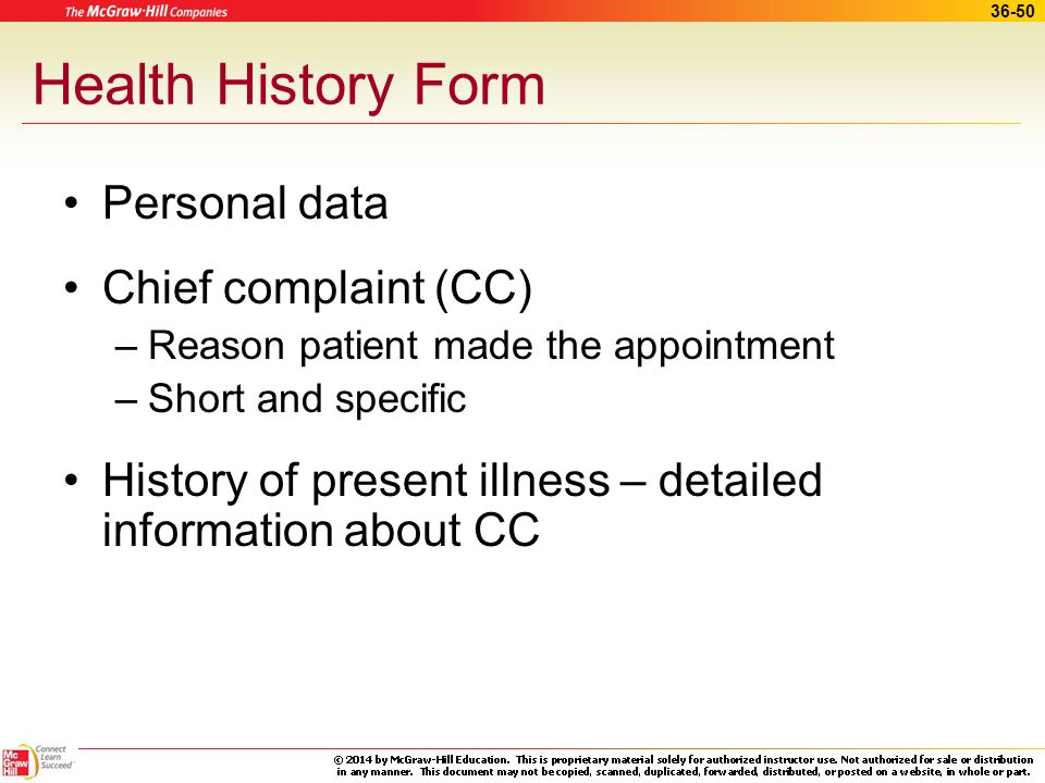 Health History Form Personal data Chief complaint (CC)