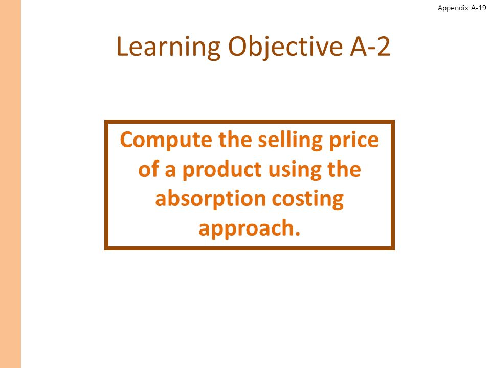 Learning Objective A-2 Compute the selling price of a product using the absorption costing approach.