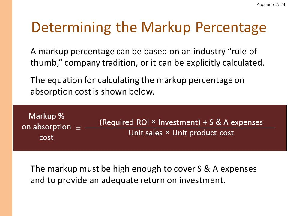 Determining the Markup Percentage