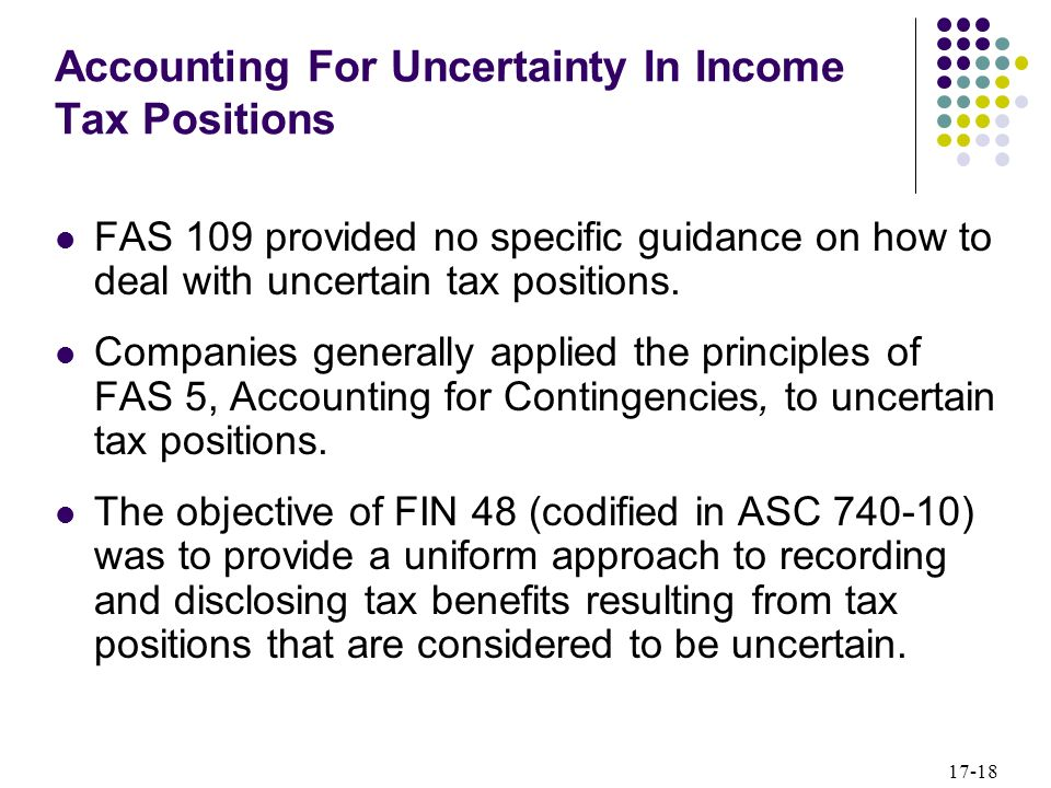 Accounting For Uncertainty In Income Tax Positions