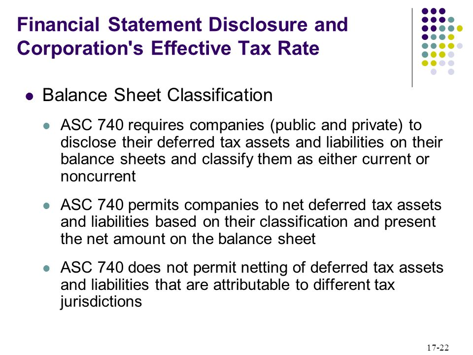 Financial Statement Disclosure and Corporation s Effective Tax Rate