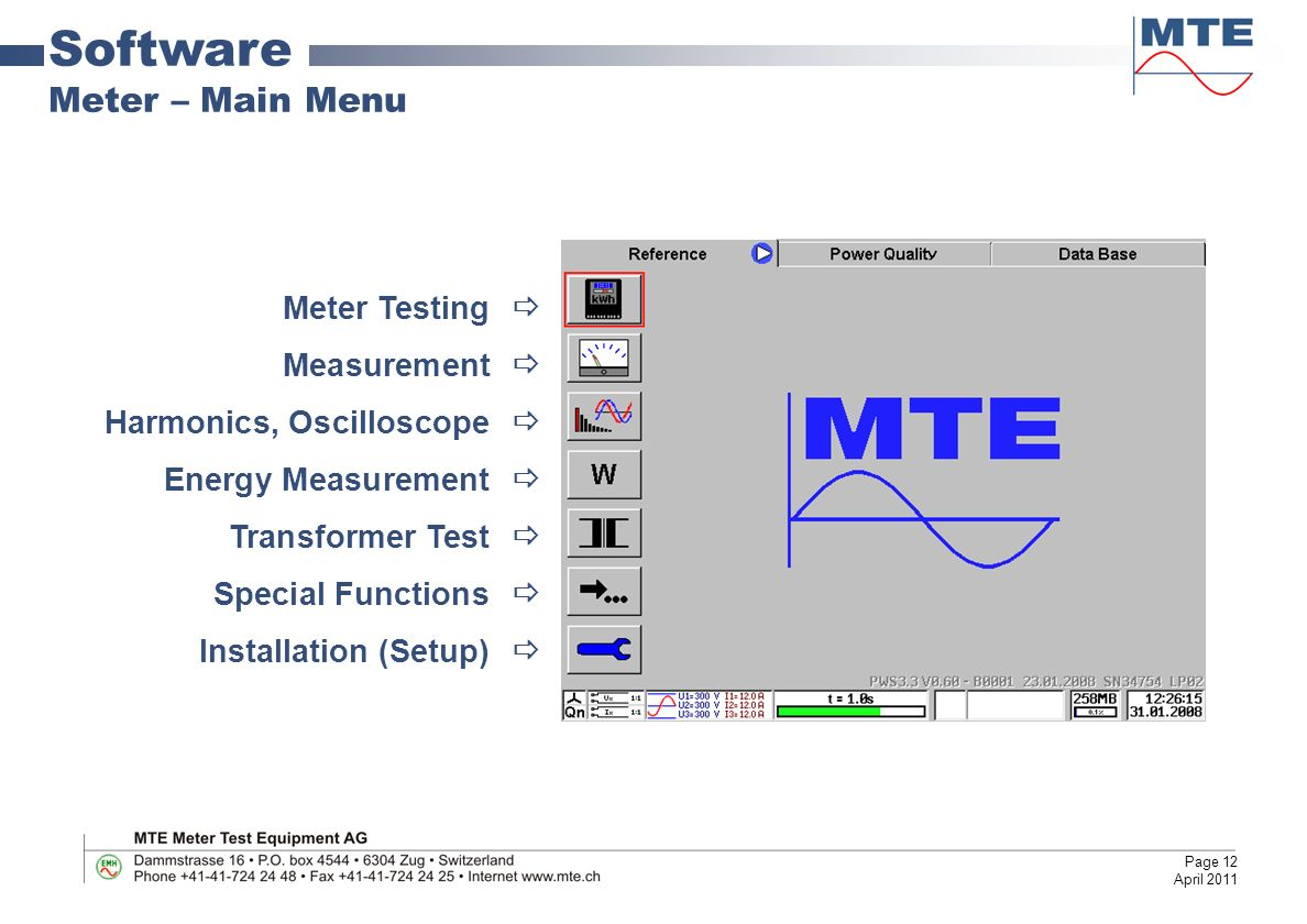 Portable Working Standard And Power Quality Analyzer Ppt Video Diagram For Meter Base Wiring With Cts Software Main Menu Testing Measurement
