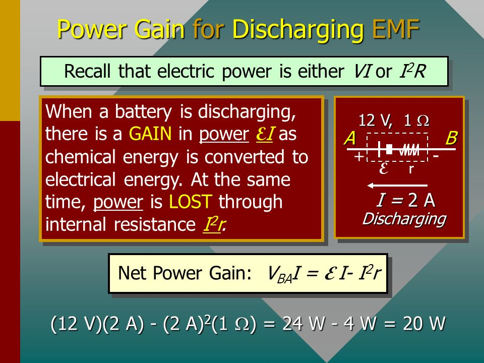 Power Gain for Discharging EMF