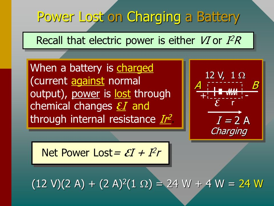 Power Lost on Charging a Battery