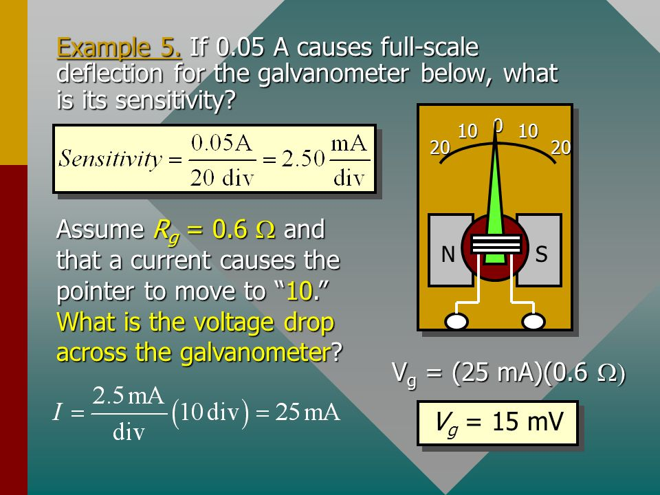 Example 5. If 0.05 A causes full-scale deflection for the galvanometer below, what is its sensitivity