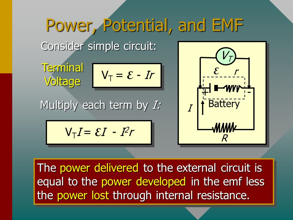 Power, Potential, and EMF