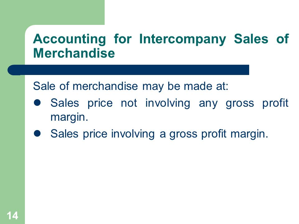 Accounting for Intercompany Sales of Merchandise