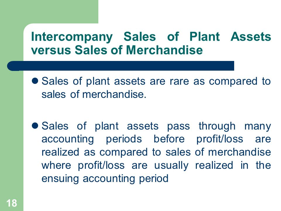 Intercompany Sales of Plant Assets versus Sales of Merchandise
