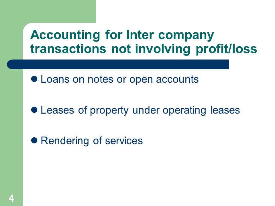 Accounting for Inter company transactions not involving profit/loss