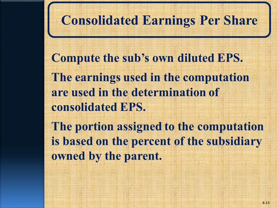 Consolidated Earnings Per Share