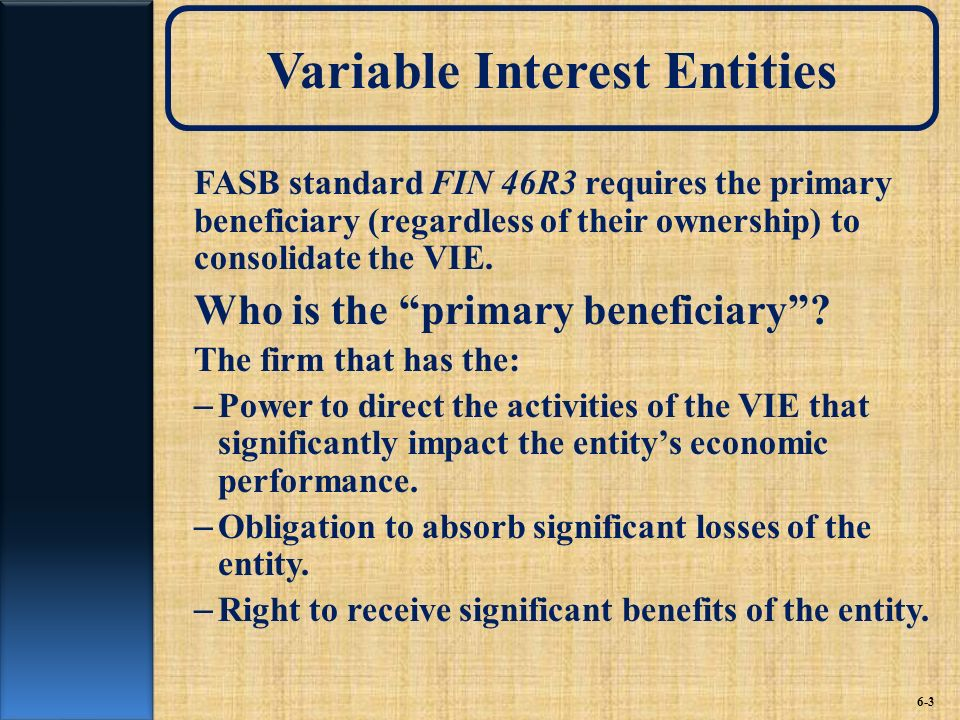 Variable Interest Entities