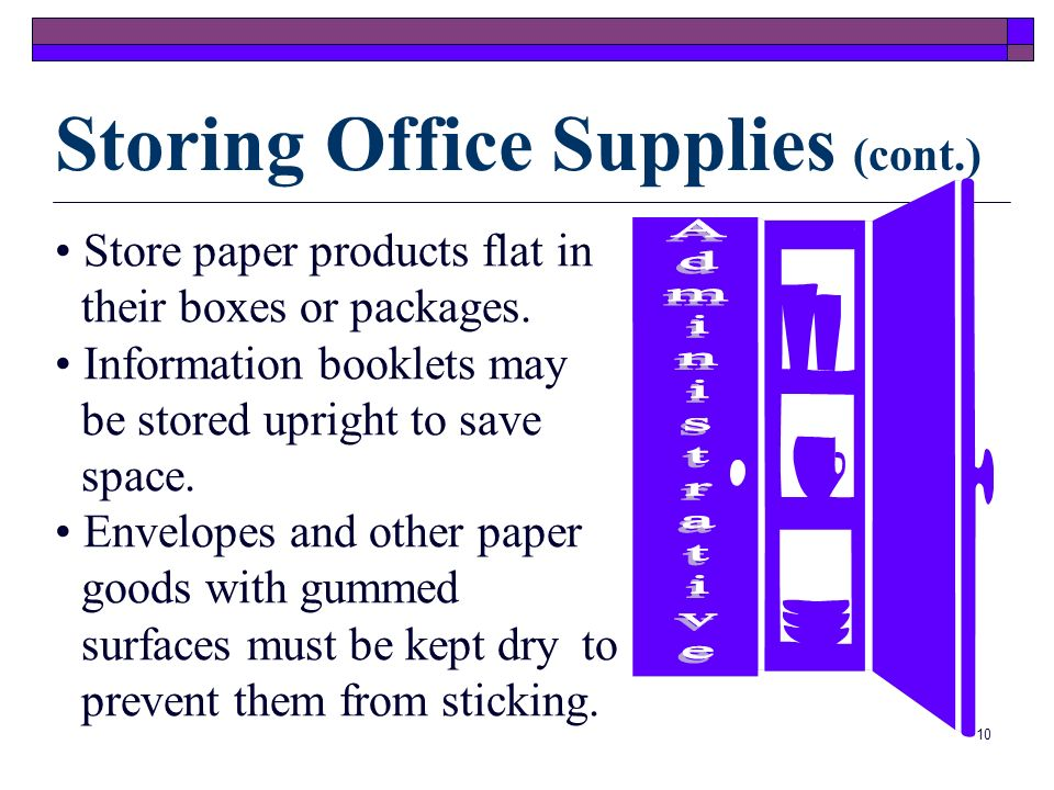 Storing Office Supplies Cont