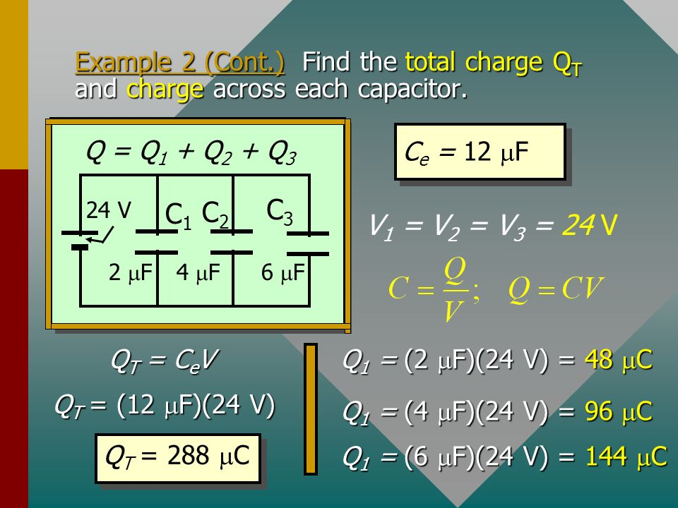 Example 2 (Cont.) Find the total charge QT and charge across each capacitor.