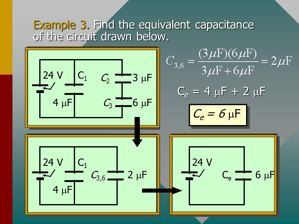 Example 3. Find the equivalent capacitance of the circuit drawn below.