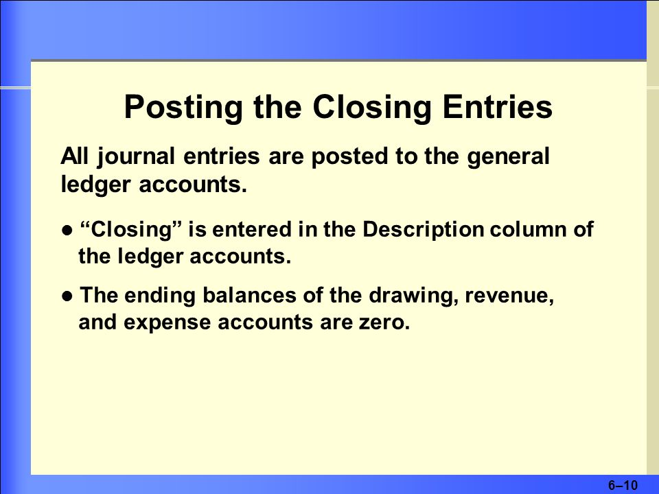 Posting the Closing Entries