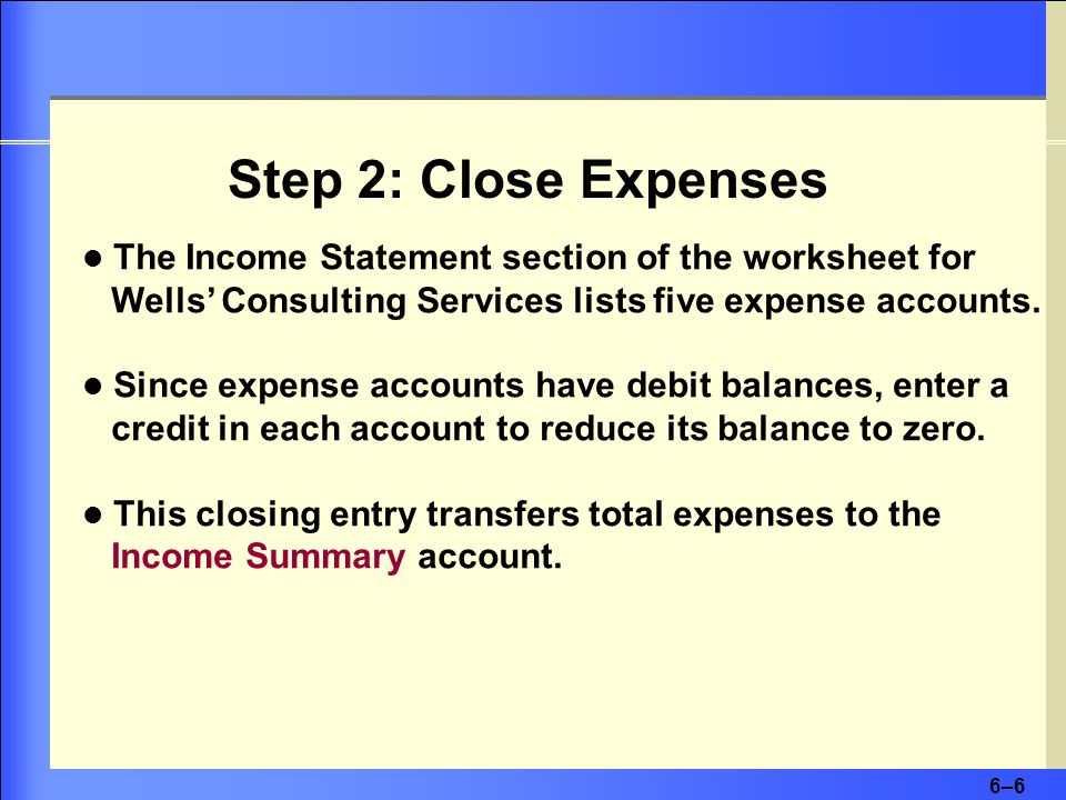 Step 2: Close Expenses The Income Statement section of the worksheet for Wells' Consulting Services lists five expense accounts.