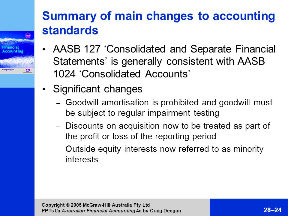 Summary of main changes to accounting standards