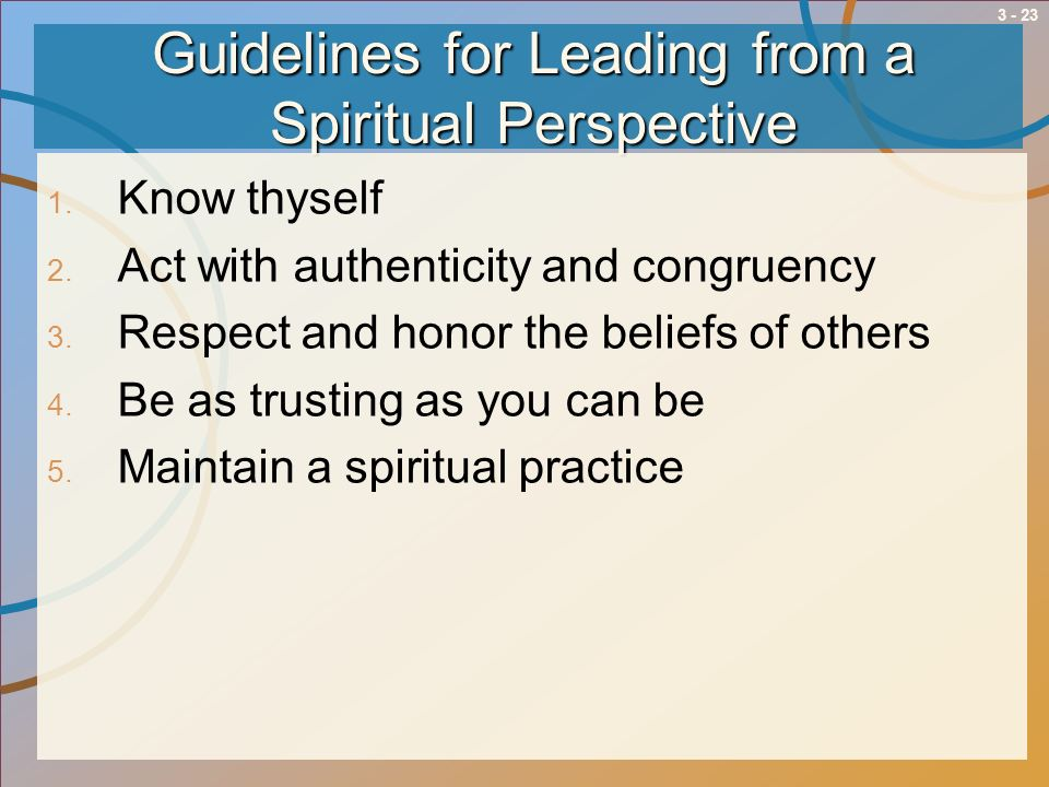 Guidelines for Leading from a Spiritual Perspective