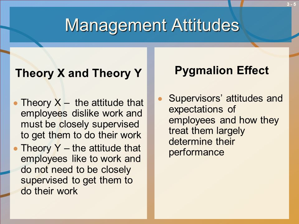 Management Attitudes Theory X and Theory Y Pygmalion Effect