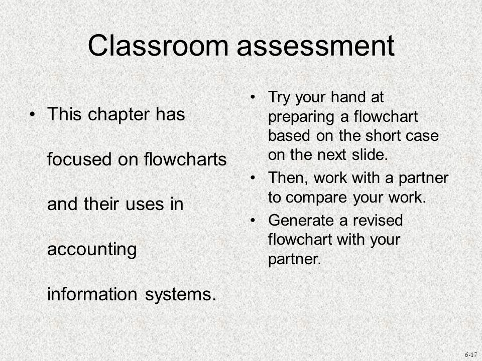 Classroom assessment This chapter has focused on flowcharts and their uses in accounting information systems.