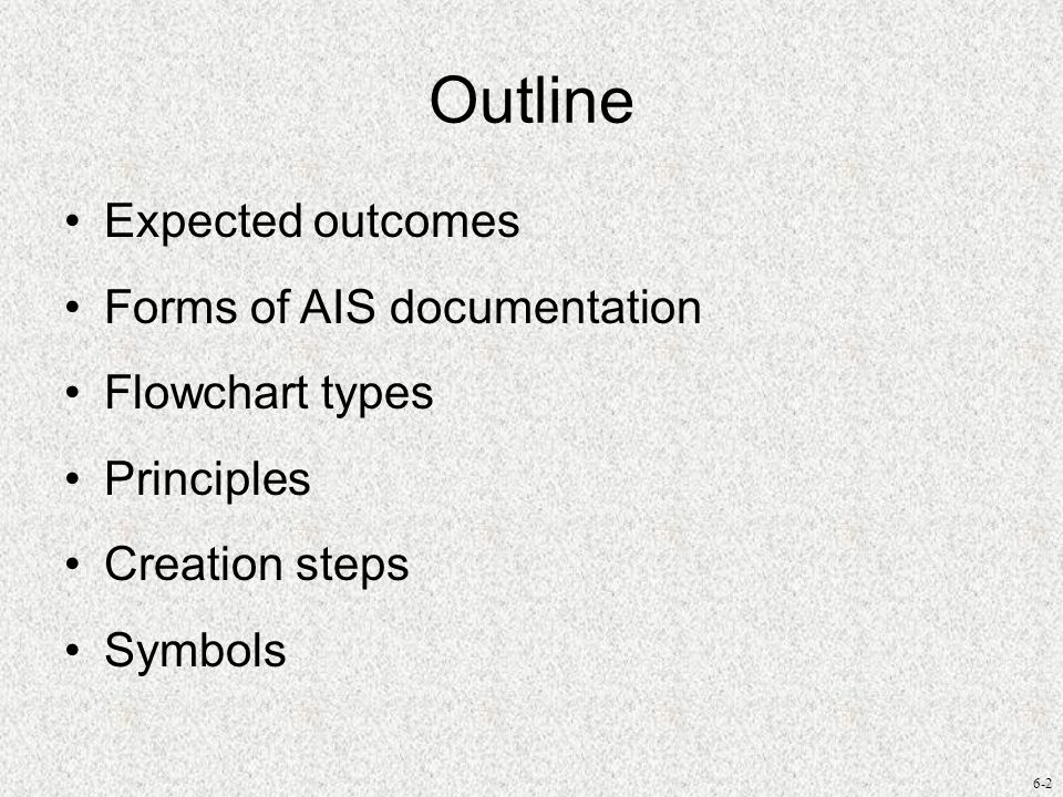 Outline Expected outcomes Forms of AIS documentation Flowchart types