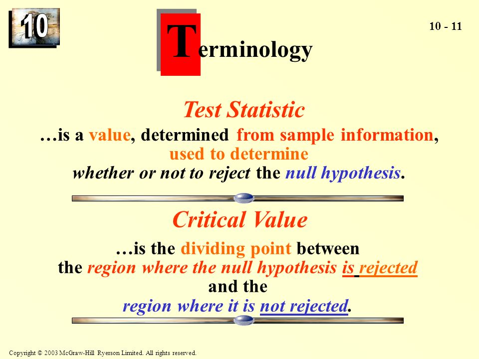 Terminology Test Statistic Critical Value