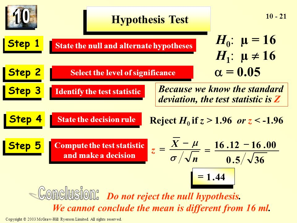 Conclusion: H0: µ = 16 H1: µ  16  = 0.05 Hypothesis Test Step 1