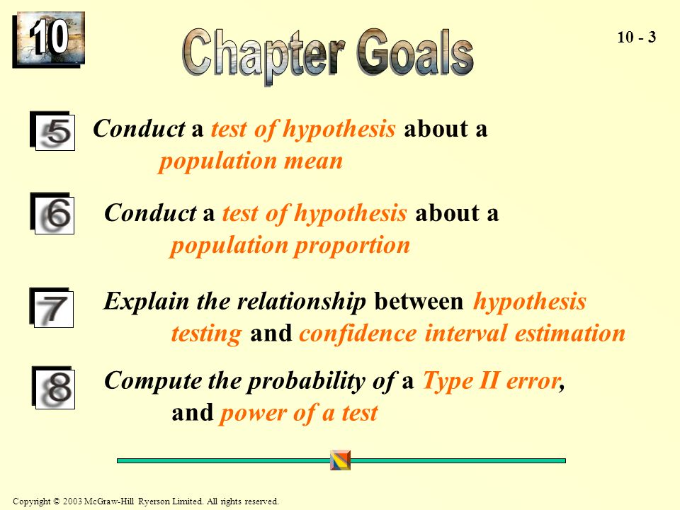 10 Chapter Goals Conduct a test of hypothesis about a population mean