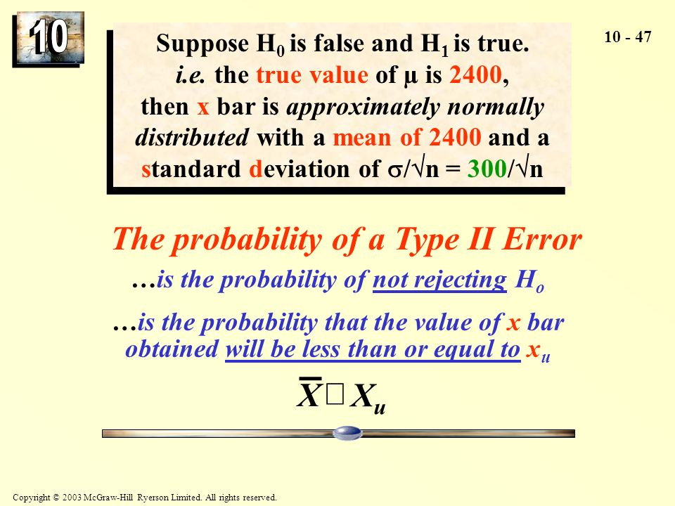 The probability of a Type II Error