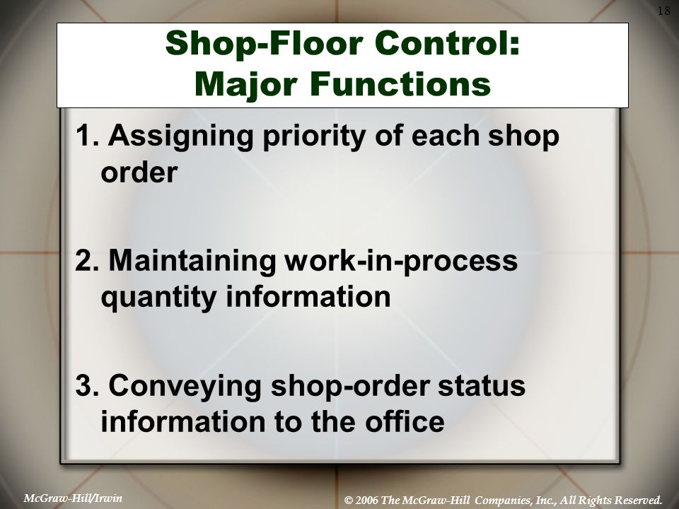 Shop-Floor Control: Major Functions