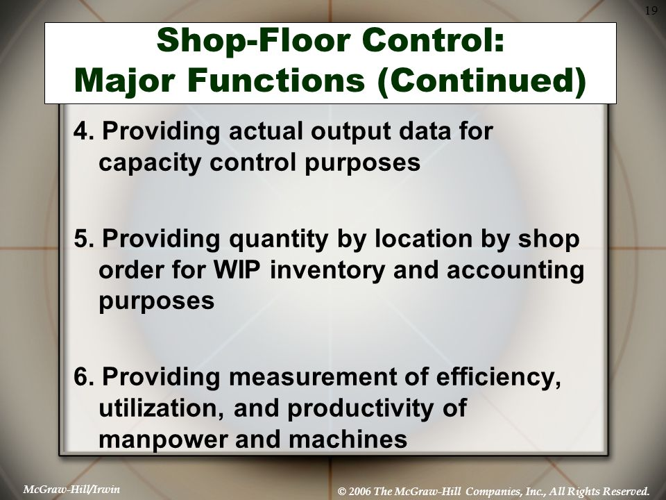 Shop-Floor Control: Major Functions (Continued)