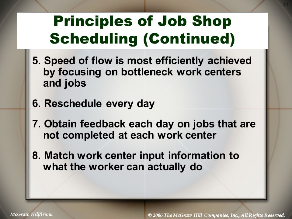 Principles of Job Shop Scheduling (Continued)