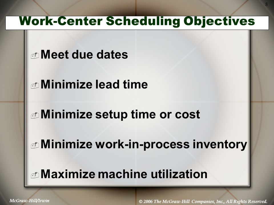 Work-Center Scheduling Objectives
