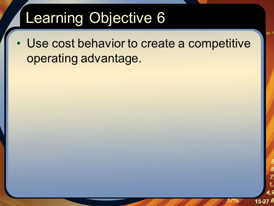 Learning Objective 6 Use cost behavior to create a competitive operating advantage. Learning Objective Six: