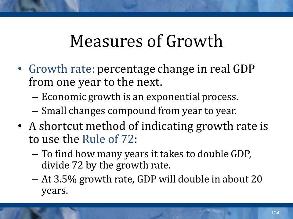 Measures of Growth Growth rate: percentage change in real GDP from one year to the next. Economic growth is an exponential process.
