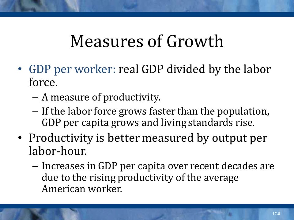 Measures of Growth GDP per worker: real GDP divided by the labor force. A measure of productivity.