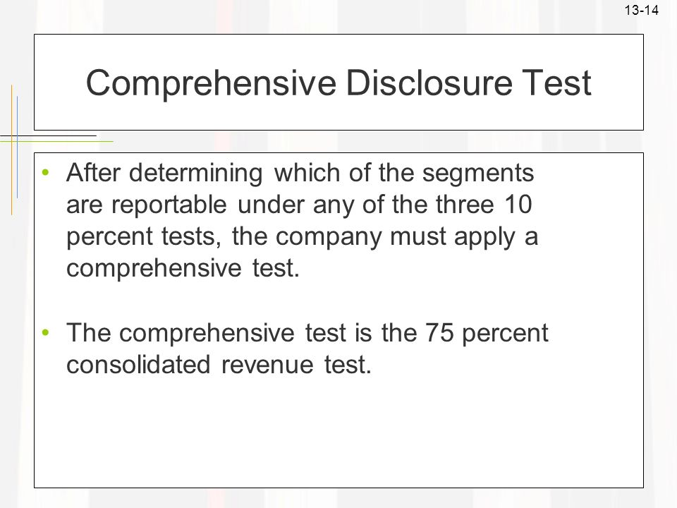 Comprehensive Disclosure Test
