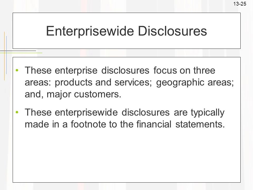 Enterprisewide Disclosures